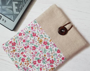 Pretty Lecien Flowers Zakka Inspired Kindle Sleeve, Kindle Cover, Kindle Case