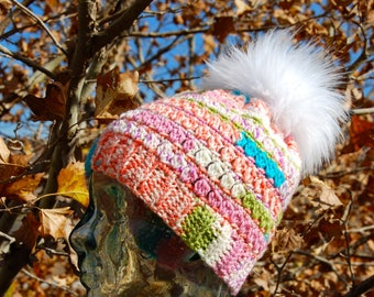 Winter Beanie, Winter Hat, Slouchy Beanie, Valentine's Gift, Handmade, Crochet,Mulit-Colored Hat,Faux Fur Pompom,Ready to ship