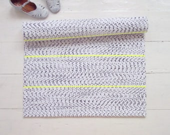 White, Navy, Yellow Rug, Accent Rug, Contemporary Rag Rug, Cotton Rug, Handmade, Washable, Woven on the Loom, Ready to Ship