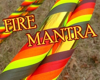 NeW! Autumn Inspired 'Fire Mantra' - Fully Customizable Travel Hula Hoop - UV Reactive // GLOWS in Blacklight