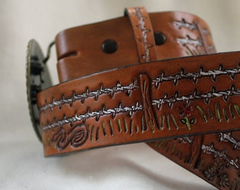 Hand Tooled Leather Belt with Barbed Wire Fence and Wildlife Motives
