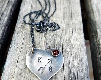 Cupid Heart Initial Necklace - Heart Initial Pendant - Custom Arrow Pendant - Stone Pendant