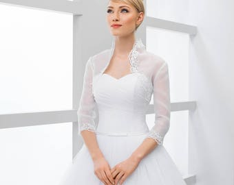 Organza Stand up Bridal Jacket in white or ivory