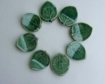 Ceramic Chopstick Rests, Pen Rests, Set of Eight Hand Made , Green Leaf