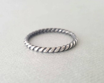 Oxidized Twist Ring Sterling Silver Stackable Ring coil Pattern Ring sterling silver stacking rings thumb ring