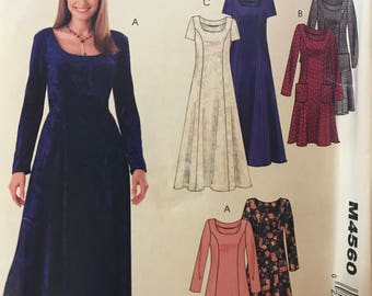 McCalls M4560 - Pullover Dress with Princess Seams in Two Lengths - Size 8 10 12 14