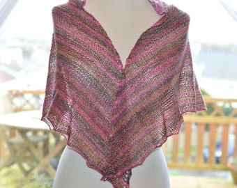 Handknitted Shawl in Pinks and Browns