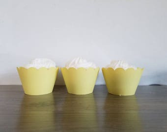 12 Count Pastel Yellow scalloped cupcake wrappers cupcake wrapper pineapple, yellow, scalloped cupcake wrapper