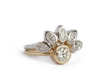 Diamond Set, Diamond Wedding Ring Set, Diamond Engagement Ring, Unique Wedding Ring Set, Solitaire Diamond Ring with Diamond Crown