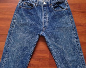 80's Acid Washed Levi's 501 Jeans - Fit Like 31/32W 30L - Made in the USA Vintage Acid Washed Levis