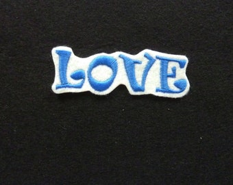Blue Love fusible patch embroidery