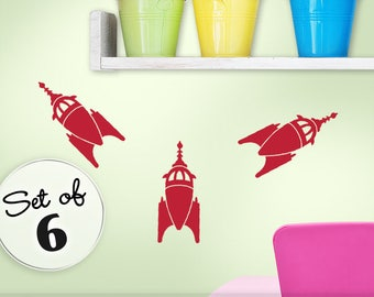 Outer Space Party Decorations - Toddler Birthday Party - Outer Space Birthday - Rocket Decals - Rocket Ship Nursery - Spaceship Decal