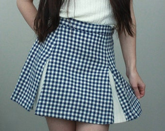 Vintage Blue and Off White Checkered Pleated Skirt