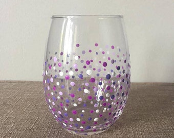 Confetti Painted Stemless Wine Glass