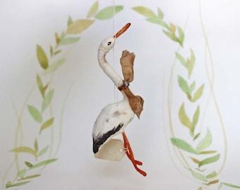Nostalgischer Christbaumschmuck Wattefigur Storch Ornament Spun Cotton