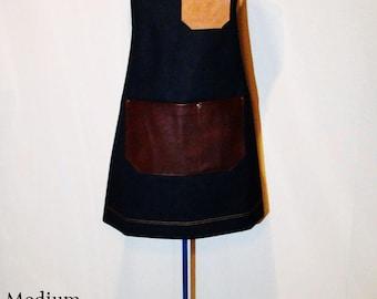 Demin and Leather pocket Apron Unisex, Workshop, Barbecue, Vendor, Barista, Cafe, Uniform, Restaurant, DIY , Made in Canada