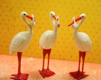 1 1960's Stork with Baby Cake Topper