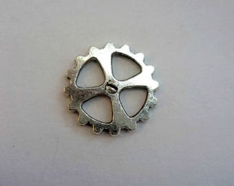 Connector 14mm antiqued silver tone metal