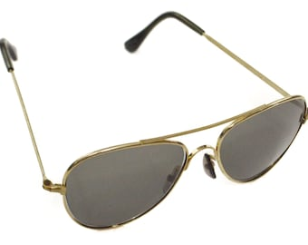Vintage 70s Foster Grant Deadstock Classic Aviator Gold Rimmed Shades Sunglasses with Black Nose Pads