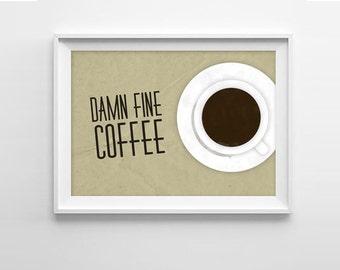 Twin Peaks Coffee Art Print - Damn Fine Coffee