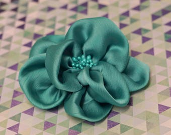 Flower Clip - turquoise teal silk flower  - alligator hair clip - toddler, child, kid, adult