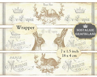 Wrapper Hare Rabbit Lapin Lievre Easter French Wraps Strips Instant Download digital collage sheet E131