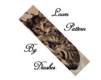 Loom Beading Pattern, Cat pattern, Kitty, peyote pattern, beaded, beadwork, tutorial, seed bead pattern, Kitten, bead graph