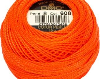 DMC 608  Perle Cotton Thread | Size 8 | Bright Orange