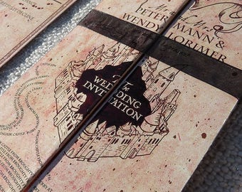 Marauders Map Style Harry Potter Inspired Wedding and Event Invitation Suite
