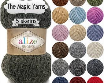 Alpaca yarn,Alize alpaca royal, alpaca , wool yarn, crochet yarn, knitting yarn, 8 ply yarn,dk yarn, gree