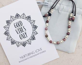 Friendship bracelet, Rhodonite bracelet, chakra jewellery, delicate bracelet, heart chakra, gift for yogi, yoga lover, boho gift for mum