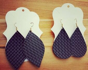 Black Basketweave Faux Leather Earrings