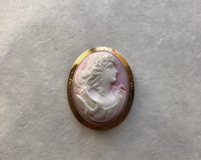 Vintage 10k Yellow Gold Conch Shell Cameo Brooch / Pendant