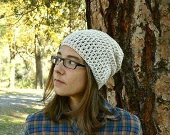 Winter Slouchy Hat Alpaca Wool Crochet Beanie Hat California Beanie Hat Tan White or Mix - The Local