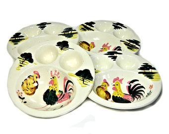 Four Hand Painted Chicken Egg Breakfast Bowls