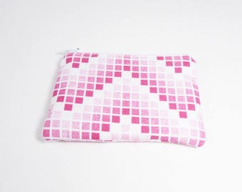 Pink Chevron Coin Purse - Ready to Ship - Coin Purse - Change Purse - Small Credit Card Wallet - Zip Money Bag