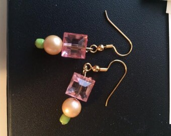 Pink Crystal Dangle Handmade Dangle Beaded Earrings with Pearls and Soft Blue/Green Bead Handcrafted by BeckyPaints