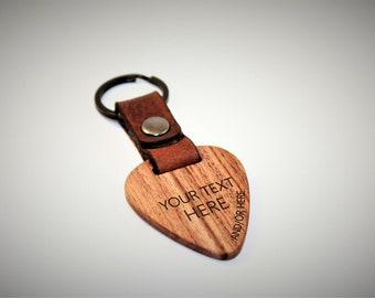 Personalized with your custom text - Genuine Exotic Hardwood and Leather Guitar Pick Keychain