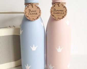 Personalised milk bottle handpainted & finished with crowns
