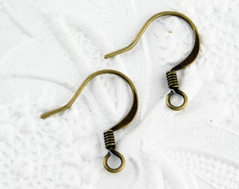 Antiqued Brass Earwires_French Hooks_5 pair_Earrings_Jewelry Design_Coiled_Hypo Allergenic