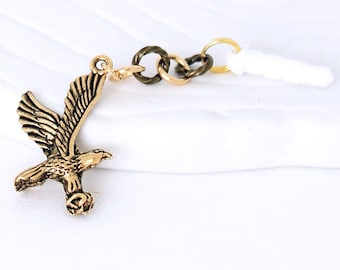 Golden Eagle Dust Plug Charm - Flying Bald Eagle Pewter Charm, Cell Phone Charm, Bird in Flight