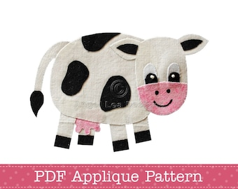 Cow Applique Template Cow Applique Pattern PDF Pattern Black and White Friesian Dairy Milking Cow Farm Animal