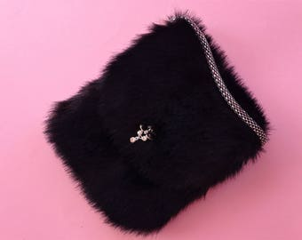 Faux Fur Purse in Black / Birthday's Gift Idea / Accsesories / Chic bag / Easter