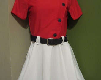 White with Red Baseball Dress, Size small