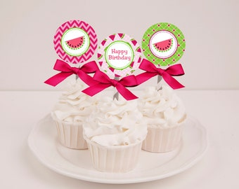 Printable Watermelon Birthday Cupcake Toppers - Instant Download