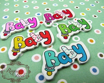 New Baby Printed 2-Hole Wooden Buttons, nursery buttons, wood button, decorative buttons, sewing, hair clip supply, beading - reynared