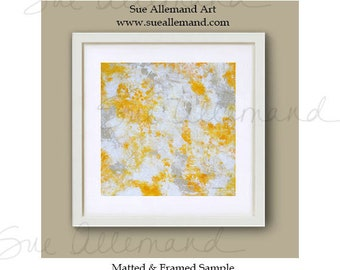"""SUNLIGHT ON the POND, Original Art Print 8"""" x 8"""", Painting by Sue Allemand,  Yellow White Inspirational Abstract Art, Zen Wall Art"""