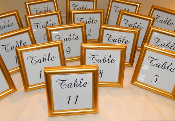 SPECIAL Small Gold Frame with Wedding Table Numbers 4 x