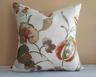 Floral Pillows, Floral Pillow Cover, Cream Pillow, Floral Cushions, Throw Pillow, Metallic, Copper Gold, 18x18, 20x20, Spring Home Decor
