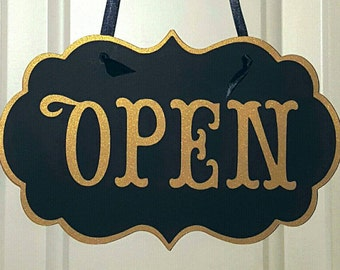 Metallic Open Closed Reversible Sign, Cardstock  Boutique Hanging Sign for Business, Art Deco, large or standard sizes available